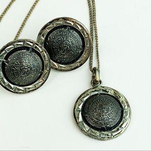 Vtg Mayan Aztec Calendar 925 Sterling Silver Set